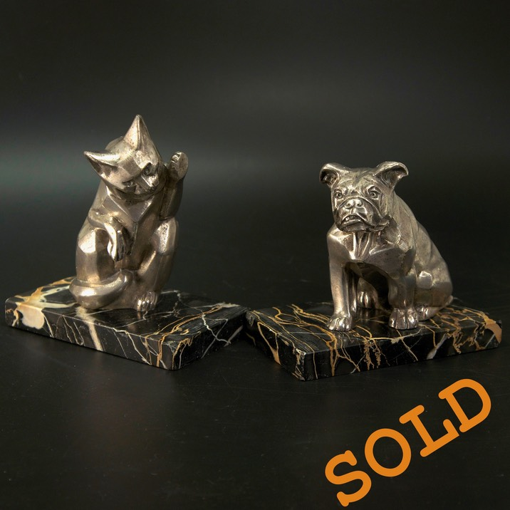 Art-Deco-Cat-Dog-Rochard-Bookends-Sold