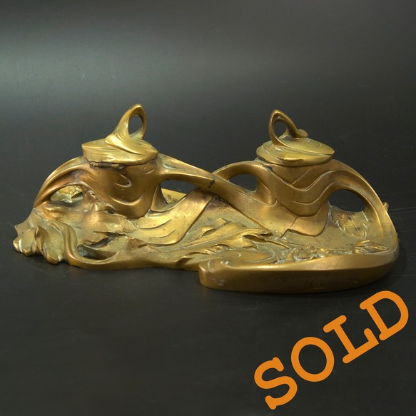 Inkwell-Art-Nouveau-Jugendstil-Bronze-Madurell Sold